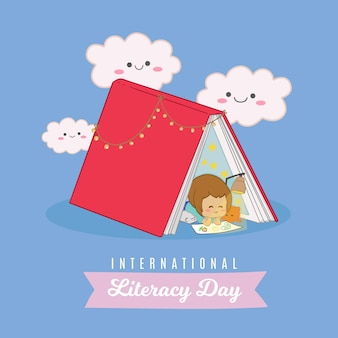 Dia internacional da alfabetização com criança e livro