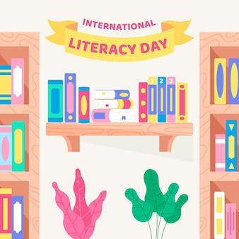 Dia internacional da alfabetização com estantes de livros