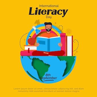 Dia internacional da alfabetização com homem e livros