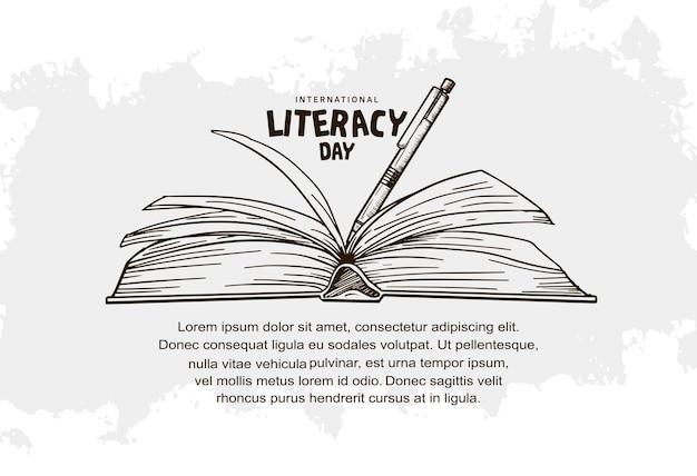 Dia internacional da alfabetização com livro aberto e caneta isolado no fundo branco pode ser usado para plano de fundo, pôster e banner
