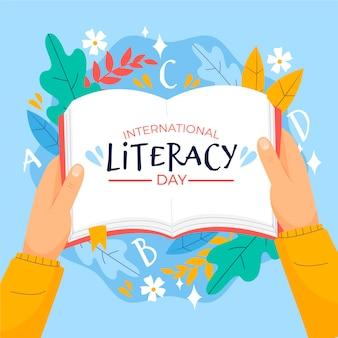 Dia internacional da alfabetização com livro aberto