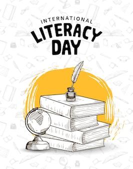 Dia internacional da alfabetização com livros de caneta de pena e pincel amarelo globo em fundo branco
