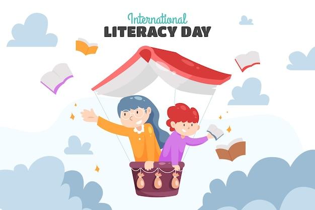 Dia internacional da alfabetização com livros e pessoas