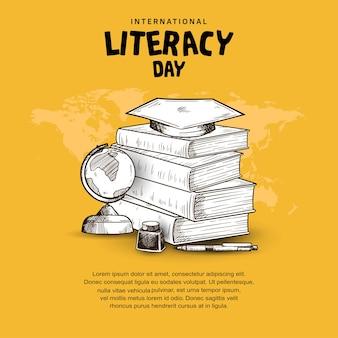 Dia internacional da alfabetização com livros, globo, tinta e caneta isolado em fundo amarelo