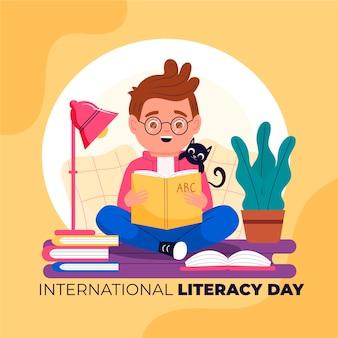 Dia internacional da alfabetização com menino lendo livro