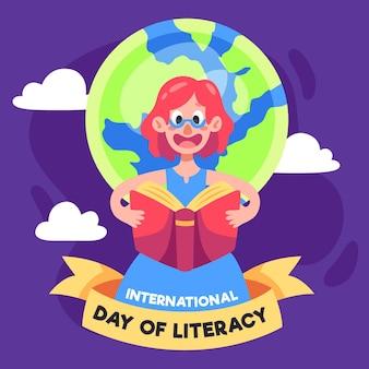 Dia internacional da alfabetização com pessoa e terra