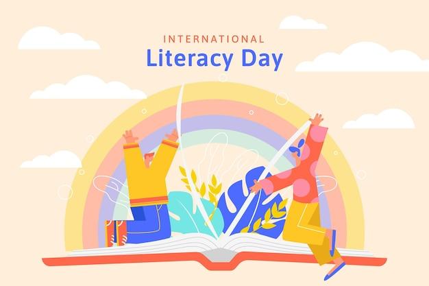 Dia internacional da alfabetização com pessoas e livro