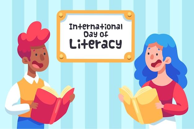 Dia internacional da alfabetização com pessoas e livros