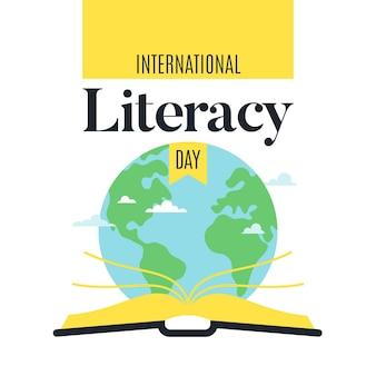 Dia internacional da alfabetização com terra e livro