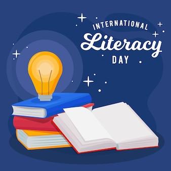 Dia internacional da alfabetização de design plano com livros e lâmpada