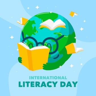 Dia internacional da alfabetização de estilo desenhado de mão
