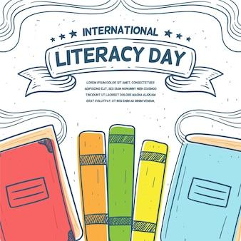 Dia internacional da alfabetização de mão desenhada design