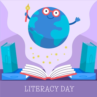 Dia internacional da alfabetização desenhada de mão