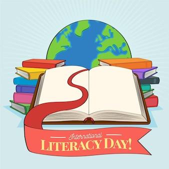 Dia internacional da alfabetização desenhado à mão