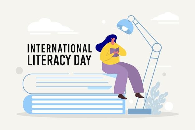 Dia internacional da alfabetização em design plano
