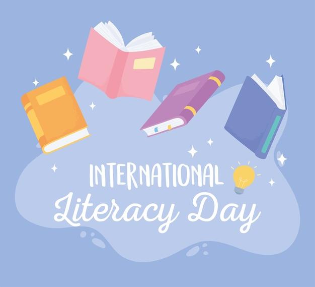 Dia internacional da alfabetização, escola de conhecimento de livros didáticos