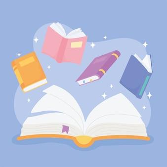 Dia internacional da alfabetização, livros escolares literarure conceito educacional