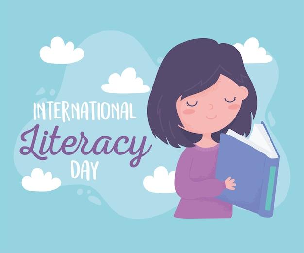 Dia internacional da alfabetização, menina feliz lendo livros didáticos