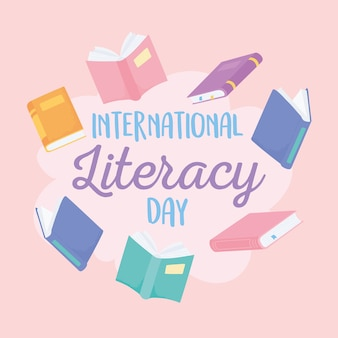 Dia internacional da alfabetização, muitos livros, escola de educação