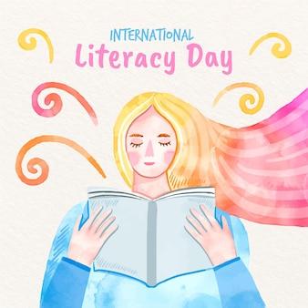 Dia internacional da alfabetização mulher lendo