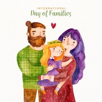 Dia internacional da aquarela hipster das famílias
