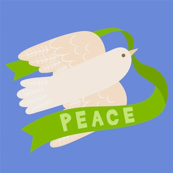 Dia internacional da bandeira de paz com pomba branca
