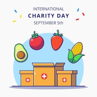 Dia internacional da caixa de caridade com ilustração de conceito de ícone de desenho animado plana de doação de alimentos.