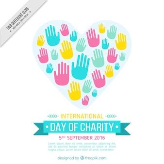 Dia internacional da caridade com as mãos coloridas
