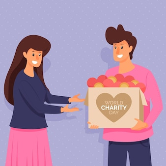 Dia internacional da caridade de design plano com personagens