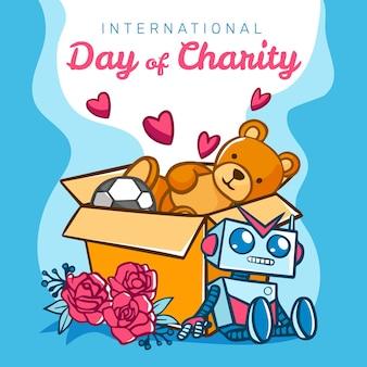 Dia internacional da caridade desenhado à mão