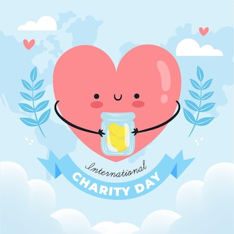 Dia internacional da caridade desenhados à mão