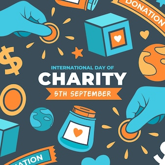 Dia internacional da caridade desenhar conceito