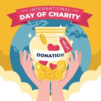 Dia internacional da caridade desenhar tema