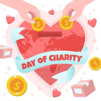 Dia internacional da caridade fundo mão desenhada