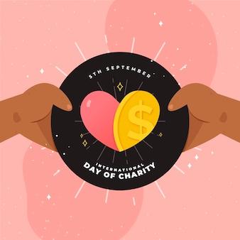 Dia internacional da caridade, segurando o amor