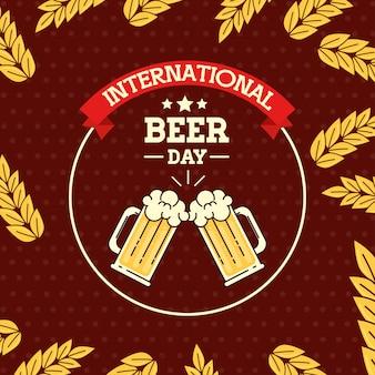 Dia internacional da cerveja, agosto, canecas, copo de cerveja e espiga decoração