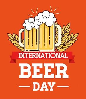 Dia internacional da cerveja, agosto, canecas, copo de cerveja e picos