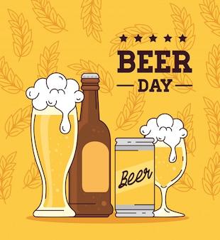 Dia internacional da cerveja, agosto, garrafa, lata, copo e copo de cerveja