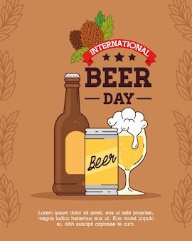 Dia internacional da cerveja, agosto, garrafa, lata e copo de cerveja