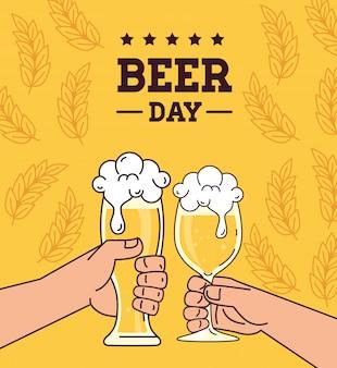 Dia internacional da cerveja, agosto, mãos, brinde cervejas