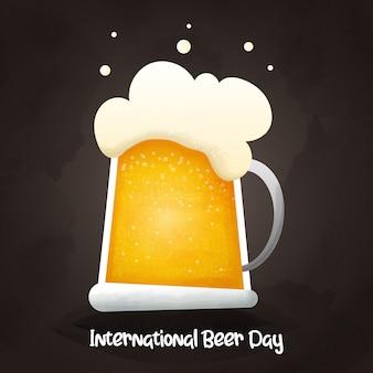 Dia internacional da cerveja. cerveja com banner feliz bolha.