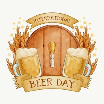 Dia internacional da cerveja com barril e pintas