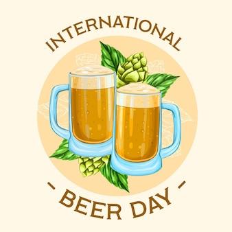 Dia internacional da cerveja com canecas