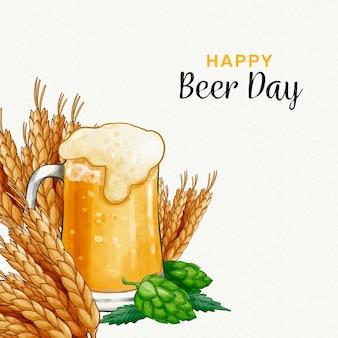 Dia internacional da cerveja com cerveja e cereais