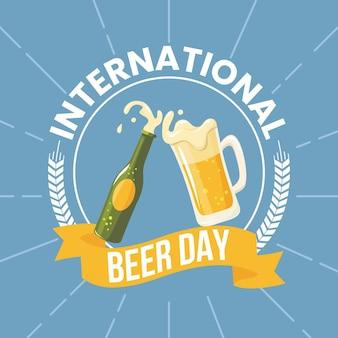 Dia internacional da cerveja com cerveja e garrafa