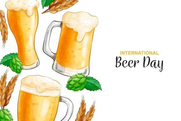 Dia internacional da cerveja com copo de cerveja e cerveja