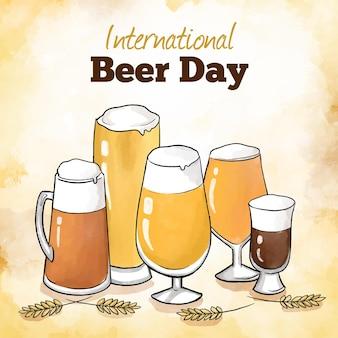 Dia internacional da cerveja com copos