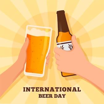 Dia internacional da cerveja com garrafa e copo