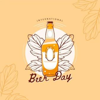 Dia internacional da cerveja com garrafa e folhas