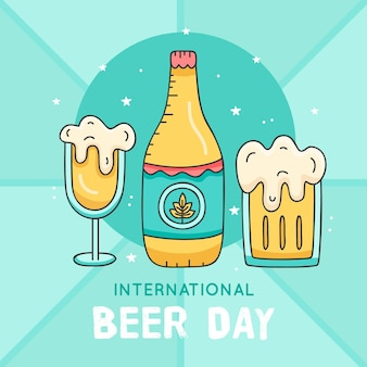 Dia internacional da cerveja com garrafa